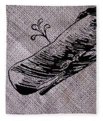 Whale On Burlap Fleece Blanket