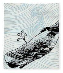 Whale On Wave Paper Fleece Blanket