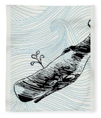 Whale On Wave Paper Fleece Blanket