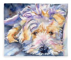 Wheaten Terrier Painting Fleece Blanket