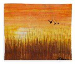 Wheatfield At Sunset Fleece Blanket