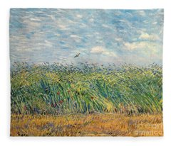 Wheatfield With Lark Fleece Blanket