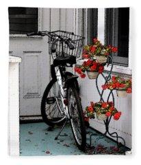 Wheels And Flowers Fleece Blanket