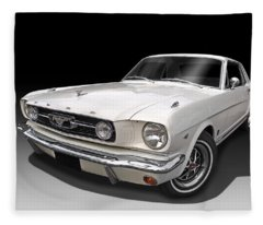 White 1966 Mustang Fleece Blanket