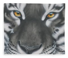 White And Black Tiger Fleece Blanket