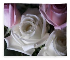 White And Pink Roses Fleece Blanket