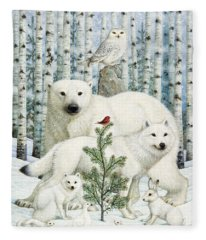 White Animals Red Bird Fleece Blanket
