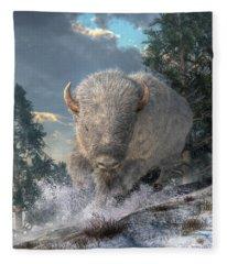 White Bison Fleece Blanket