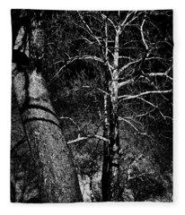 White Branches In Black Fleece Blanket