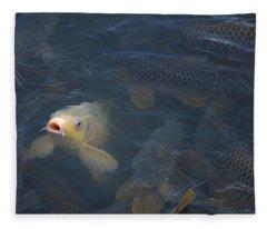 White Carp In The Lake Fleece Blanket