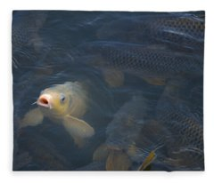 White Carp In The Lake Fleece Blanket