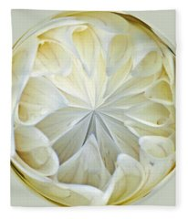 White Dahlia Orb Fleece Blanket