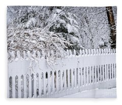 White Fence With Winter Trees Fleece Blanket