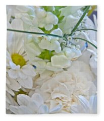 White Floral Bouquet Art Prints Fleece Blanket