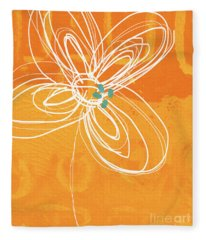 White Flower On Orange Fleece Blanket