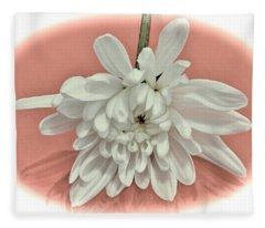 White Flower On Pale Coral Vignette Fleece Blanket