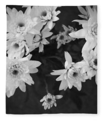 White Flowers- Black And White Photography Fleece Blanket