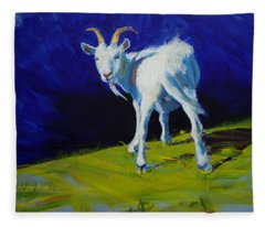 White Goat Painting Fleece Blanket