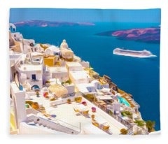 White Houses Of Santorini Fleece Blanket