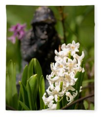 White Hyacinth In The Garden Fleece Blanket