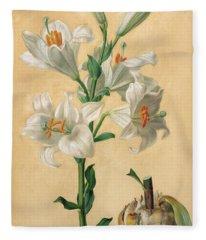 White Lily Fleece Blanket