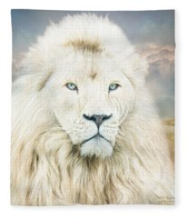 Fleece Blanket featuring the mixed media White Lion - Spirit Of Goodness by Carol Cavalaris