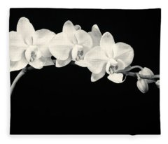 White Orchids Monochrome Fleece Blanket