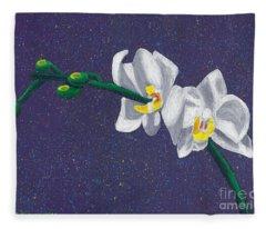 White Orchids On Dark Blue Fleece Blanket