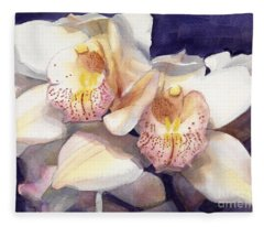 White Orchids Watercolor Fleece Blanket