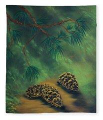 White Pine  And Cones Fleece Blanket