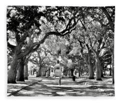 White Point Gardens At Battery Park Charleston Sc Black And White Fleece Blanket