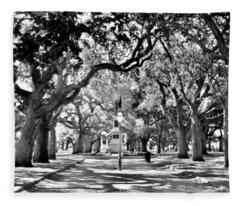 White Point Gardens At Battery Park Charleston Sc Black And White Fleece Blanket