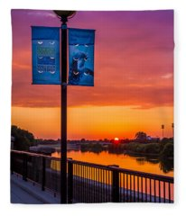 White River Sunset Fleece Blanket