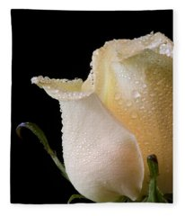 White Rose Close-up Fleece Blanket