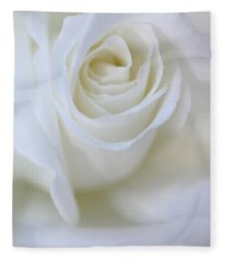 White Rose Floral Whispers Fleece Blanket