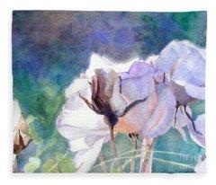 White Roses In The Shade Fleece Blanket