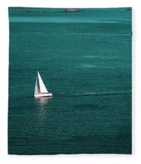White Sailboat Fleece Blanket