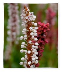 White Stalk Flower Fleece Blanket