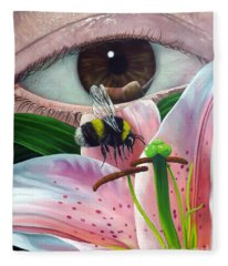 White Tailed Bumble Bee Upon Lily Flower Fleece Blanket