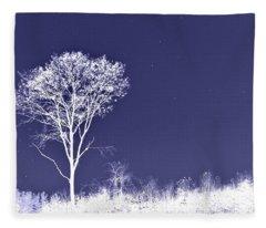 White Tree - Blue Sky - Silver Stars Fleece Blanket