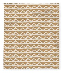 White Triangles On Burlap Fleece Blanket