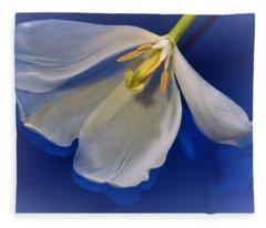 White Tulip On Blue Fleece Blanket