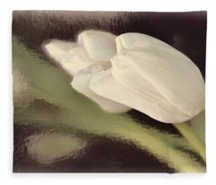 White Tulip Reflected In Misty Water Fleece Blanket