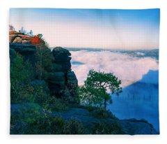 White Wafts Of Mist Around The Lilienstein Fleece Blanket