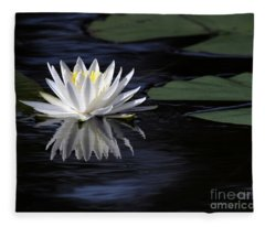 White Water Lily Left Fleece Blanket