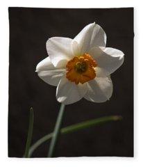 White Yellow Daffodil Fleece Blanket