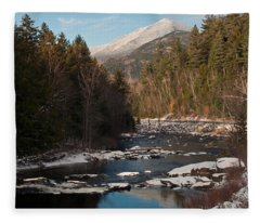 Whiteface Mountain At Monument Falls Fleece Blanket