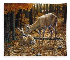 Whitetail Deer - Autumn Innocence 2 Fleece Blanket