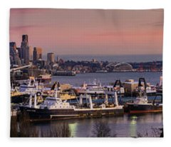 Wider Seattle Skyline And Rainier At Sunset From Magnolia Fleece Blanket