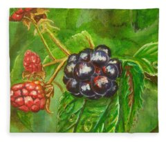 Wild Blackberries Fleece Blanket